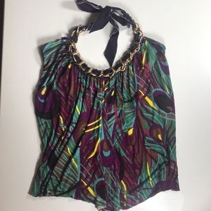 T-bags halter top with velvet and gold chain neck!